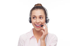 Call centre employee with a headset Royalty Free Stock Photo