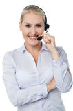 Call centre executive, studio shot Royalty Free Stock Photos