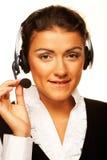 Call centre glimlachende exploitant met telefoonhoofdtelefoon stock afbeelding