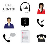 Call centre icon set Royalty Free Stock Image