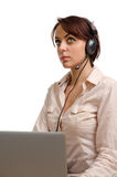 Call centre operator listening Stock Photography