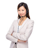 Call centre representative. Isolated on white background Royalty Free Stock Photo