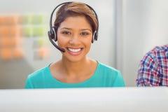 Call centre representative using headset Royalty Free Stock Image