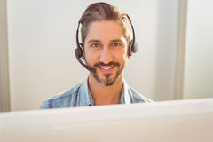 Call centre representative using headset Stock Photos