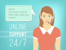 Call Centre Support Girl with Headphones Royalty Free Stock Photos