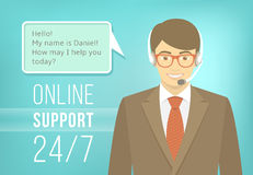 Call Centre Support Man with Headphones Royalty Free Stock Photos