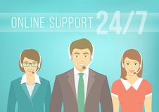 Call Centre Support Team with Headphones Stock Photos