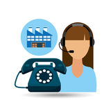 Call centre woman working warehouse merchandise boxes. Vector illustration eps 10 Royalty Free Stock Photo