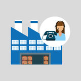 Call centre woman working warehouse merchandise boxes. Vector illustration eps 10 Royalty Free Stock Image