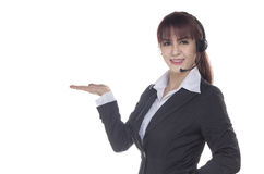 Call centrevrouw met het schot van de hoofdtelefoonstudio Het glimlachen Zaken wom royalty-vrije stock afbeelding