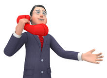 Call Character Represents Entrepreneurial Calls And Talking 3d Rendering. Talking Call Indicating Business Person And Talked 3d Rendering Royalty Free Stock Image