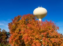 Top of yellow water tower and autumn trees in the fall Stock Images