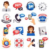 Call Center Colorful Icons Collection Stock Photography