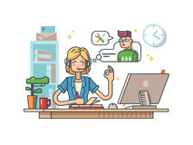 Call customer support. Operator to communicate with client. Vector illustration Royalty Free Stock Image