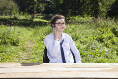 Call delegation. Businesswoman outside the office royalty free stock images