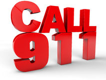 Call 911. Emergency call 3d text over white Background Royalty Free Stock Photography
