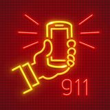 Call emergency by telephone 911 number. Call emergency by telephone number 911. Calling to rescue service. Smartphone in hand neon icon. EPS10 vector vector illustration