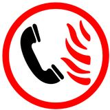 Call firestation if you see fire flame illustrated Icon circle road signn isolated on white Background.  Royalty Free Stock Photography