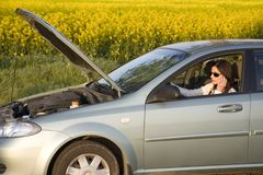 Call for help. Woman calling for help from the road Stock Photography