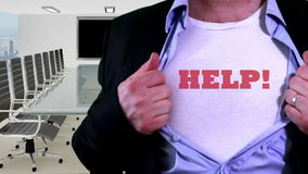 Call for help shirt concept. Shot containing of Man unveils textual slogan T-shirt under business suit in an office stock video