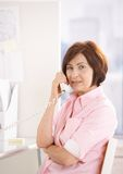 call mature office phone portrait worker Стоковое Фото