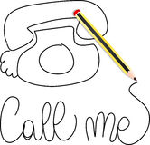 Call me. A pencil form the words call me, vector royalty free illustration