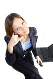 Call me. Young business woman making call me sign stock image