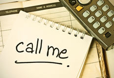 Call me. Leave a note for calling back Royalty Free Stock Photos