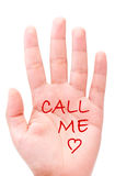 Call me. Message and heart drawn on a hand Stock Photos