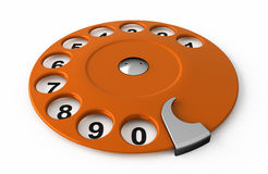 Call me!. Isolated old orange analogue dialer Royalty Free Stock Image