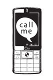 Call me. A vector image of a mobile phone on a white background with text me shown in the text bubble on the screen Royalty Free Stock Photography