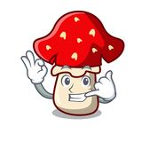 Call me amanita mushroom mascot cartoon Royalty Free Stock Photography