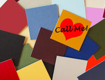 Call Me - Ring Me - I Love You! - business / office / romance in post its. Call Me as a sign with a love heart, for business / office romance / public service royalty free stock image