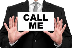 Call me. Businessman shows business card Royalty Free Stock Image