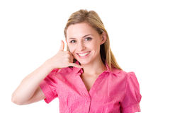 'call me' gesture, attractive female in shirt Stock Photos