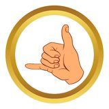 Call me gesture vector icon, cartoon style. Call me gesture vector icon in golden circle, cartoon style isolated on white background stock illustration