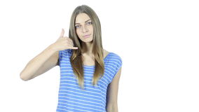 Call me Gesture by Woman, help line, White Background,Young,,,,. Call me Gesture by Woman, help line, White Background , young creative designer , good looking stock video