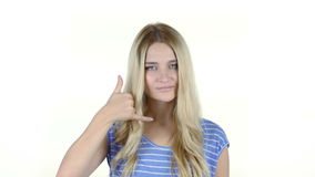 Call me Gesture by Woman , join me, help line, White Background. Young Designer , Creative Designer stock footage