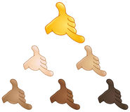 Call me hand emoji. Call me hand sign emoji set of various skin tones Royalty Free Stock Photos