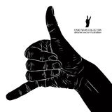 Call me hand sign, detailed black and white vector illustration. Stock Photo
