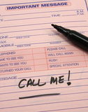 Call Me Improtant Message. Important message notepad with the words Call Me! written on it Royalty Free Stock Photography