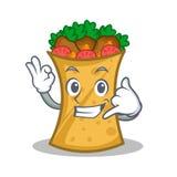 Call me kebab wrap character cartoon. Vector art vector illustration