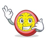 Call me passion fruit mascot cartoon. Vector illustration Stock Photos