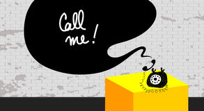 Call me phone. Call me illustration, phone sketch, doodle. Old vintage retro object, speech balloon with message royalty free illustration