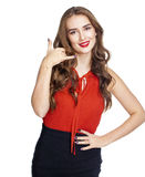 Call me a pretty young woman Royalty Free Stock Photo