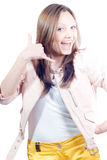 Call me! Shouting Beautiful young woman isolated Royalty Free Stock Images