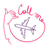 Call me sign with elegant woman`s hand vector sketch. Call me hand sign elegant graceful woman`s hand vector sketch illustration with airplane Stock Photography