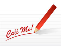 Call me sign sign written on a white paper. Royalty Free Stock Photography