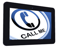 Call Me Tablet Shows Talk or Chat Royalty Free Stock Image