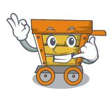 Call me wooden trolley mascot cartoon. Vector illustration vector illustration